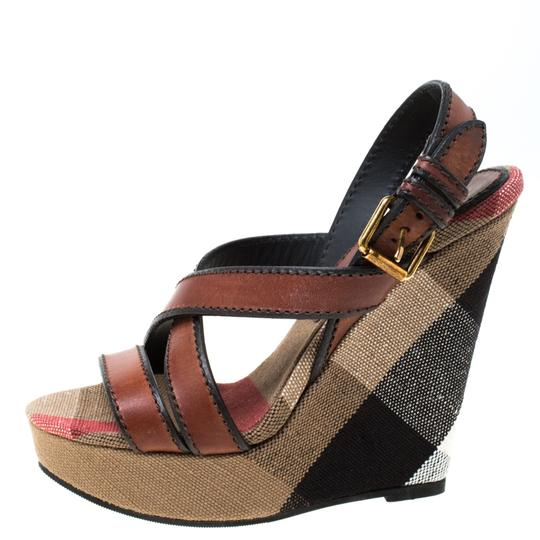 Burberry Canvas Leather Platform Wedge Brown Sandals Image 1