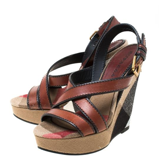 Burberry Canvas Leather Platform Wedge Brown Sandals Image 3