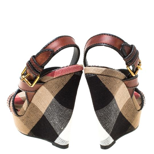 Burberry Canvas Leather Platform Wedge Brown Sandals Image 4
