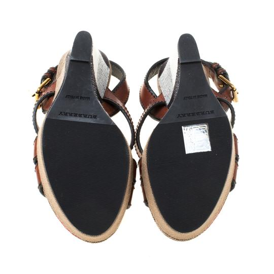 Burberry Canvas Leather Platform Wedge Brown Sandals Image 5