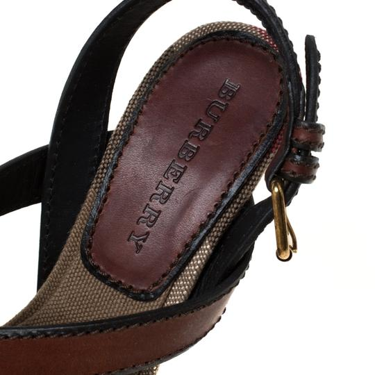 Burberry Canvas Leather Platform Wedge Brown Sandals Image 6