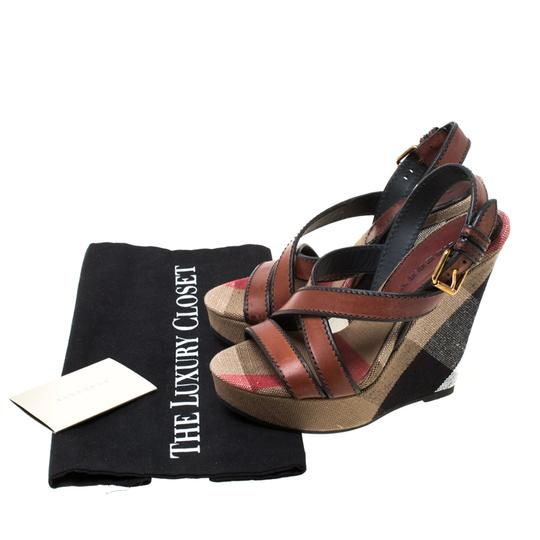 Burberry Canvas Leather Platform Wedge Brown Sandals Image 7