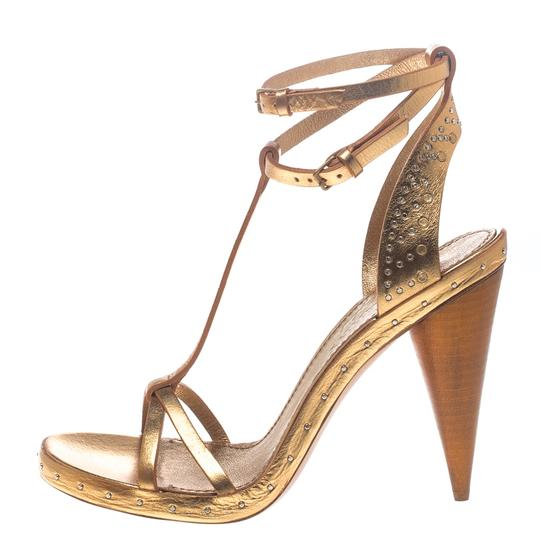 Burberry Metallic Leather Gold Sandals Image 1