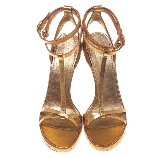 Burberry Metallic Leather Gold Sandals Image 2