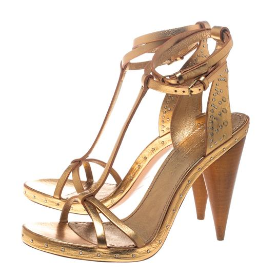 Burberry Metallic Leather Gold Sandals Image 4