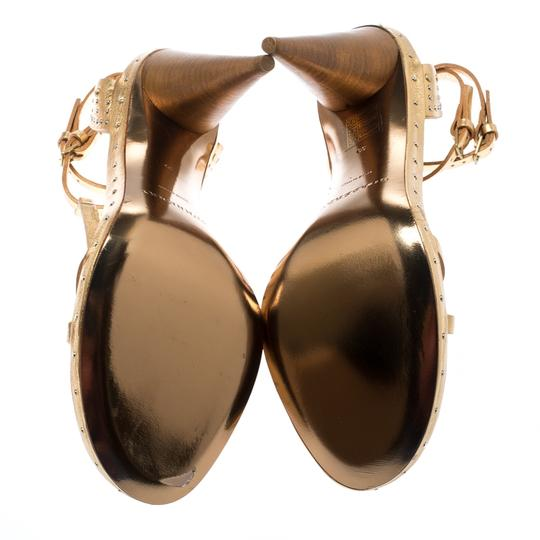 Burberry Metallic Leather Gold Sandals Image 6