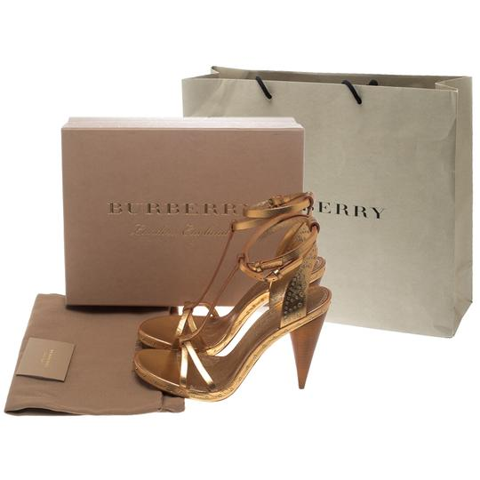 Burberry Metallic Leather Gold Sandals Image 7