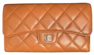 Chanel Classic Caviar Leather Wallet Clutch Tan Camel SHW