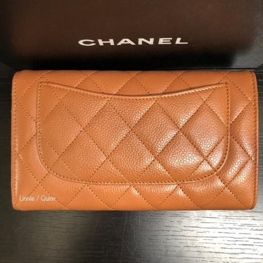 Chanel Classic Caviar Leather Wallet Clutch Tan Camel SHW Image 1