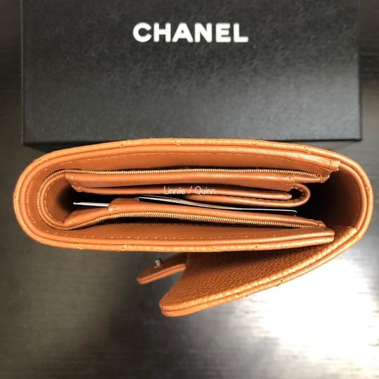 Chanel Classic Caviar Leather Wallet Clutch Tan Camel SHW Image 4