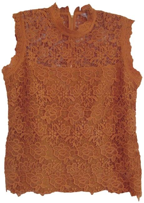Item - Mustard Floral Allover Lace Mandarin Collar Lithe Sleeve Style No. Lw9k14v82 Blouse Size 12 (L)