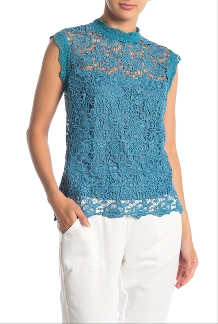 Nanette Lepore Allover Lace Floral Print Scalloped Trim Mandarin Collar Lithe Sleeves Top Mustard Image 1