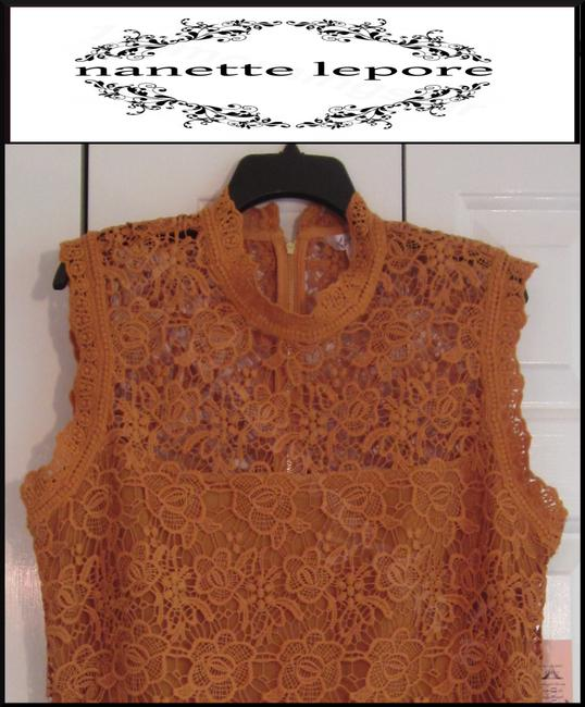 Nanette Lepore Allover Lace Floral Print Scalloped Trim Mandarin Collar Lithe Sleeves Top Mustard Image 2