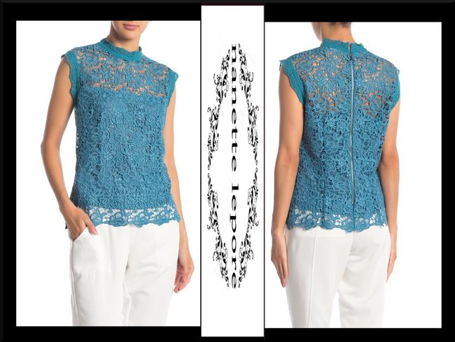Nanette Lepore Allover Lace Floral Print Scalloped Trim Mandarin Collar Lithe Sleeves Top Mustard Image 3