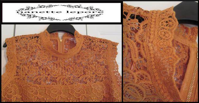 Nanette Lepore Allover Lace Floral Print Scalloped Trim Mandarin Collar Lithe Sleeves Top Mustard Image 5