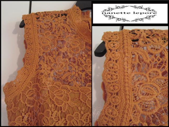Nanette Lepore Allover Lace Floral Print Scalloped Trim Mandarin Collar Lithe Sleeves Top Mustard Image 7