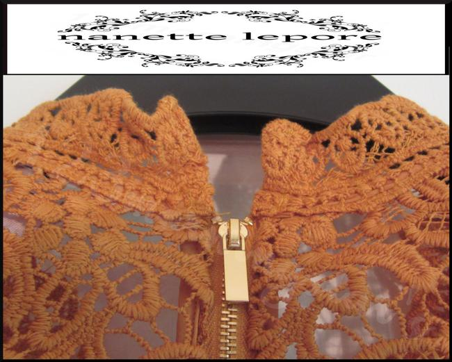 Nanette Lepore Allover Lace Floral Print Scalloped Trim Mandarin Collar Lithe Sleeves Top Mustard Image 9