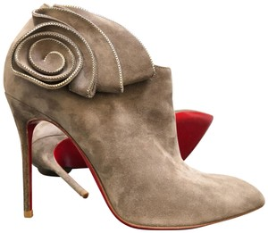 Christian Louboutin Ankle Marychal Pony Embellished Rosette Chanel Grey Boots