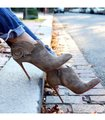 Christian Louboutin Ankle Marychal Pony Embellished Rosette Chanel Grey Boots Image 1
