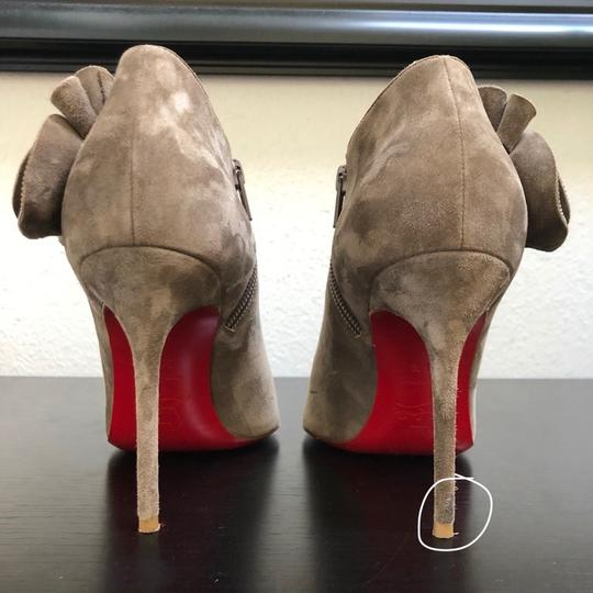 Christian Louboutin Ankle Marychal Pony Embellished Rosette Chanel Grey Boots Image 2
