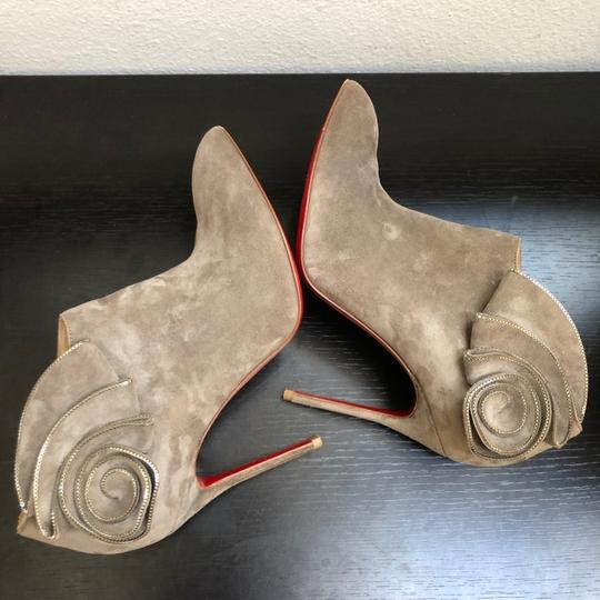 Christian Louboutin Ankle Marychal Pony Embellished Rosette Chanel Grey Boots Image 6