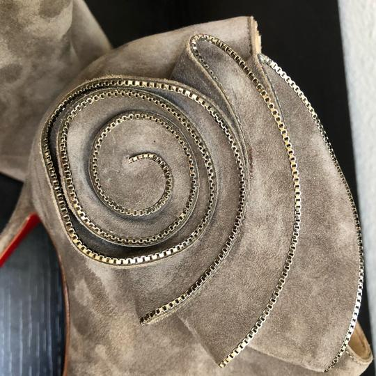 Christian Louboutin Ankle Marychal Pony Embellished Rosette Chanel Grey Boots Image 9