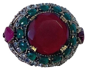 Royal Duchess Collection RUBY EMERALD BRUNCH RING Size 9 Solid 925 Sterling Silver/Gold WOW! Gems: Brilliantly Faceted Round/Pear Cut Rubies, Emeralds, Diamond Topaz