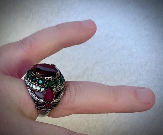 Royal Duchess Collection RUBY EMERALD BRUNCH RING Size 9 Solid 925 Sterling Silver/Gold WOW! Gems: Brilliantly Faceted Round/Pear Cut Rubies, Emeralds, Diamond Topaz Image 1