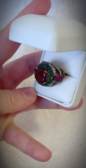 Royal Duchess Collection RUBY EMERALD BRUNCH RING Size 9 Solid 925 Sterling Silver/Gold WOW! Gems: Brilliantly Faceted Round/Pear Cut Rubies, Emeralds, Diamond Topaz Image 2