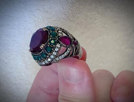 Royal Duchess Collection RUBY EMERALD BRUNCH RING Size 9 Solid 925 Sterling Silver/Gold WOW! Gems: Brilliantly Faceted Round/Pear Cut Rubies, Emeralds, Diamond Topaz Image 5