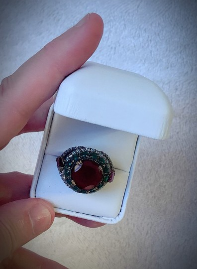 Royal Duchess Collection RUBY EMERALD BRUNCH RING Size 9 Solid 925 Sterling Silver/Gold WOW! Gems: Brilliantly Faceted Round/Pear Cut Rubies, Emeralds, Diamond Topaz Image 6