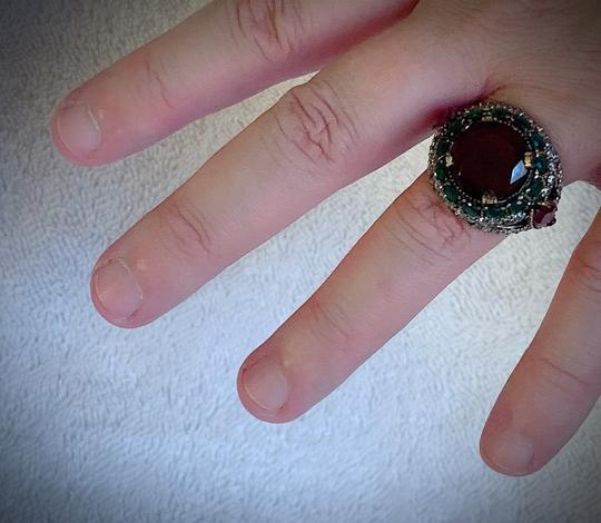 Royal Duchess Collection RUBY EMERALD BRUNCH RING Size 9 Solid 925 Sterling Silver/Gold WOW! Gems: Brilliantly Faceted Round/Pear Cut Rubies, Emeralds, Diamond Topaz Image 7