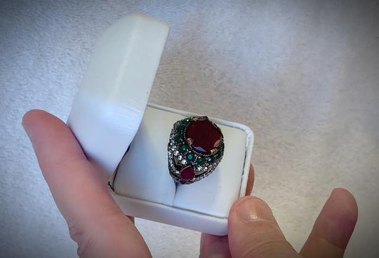 Royal Duchess Collection RUBY EMERALD BRUNCH RING Size 9 Solid 925 Sterling Silver/Gold WOW! Gems: Brilliantly Faceted Round/Pear Cut Rubies, Emeralds, Diamond Topaz Image 9