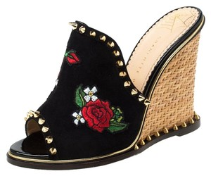 Charlotte Olympia Suede Floral Embroidered Open Toe Wedge Black Sandals