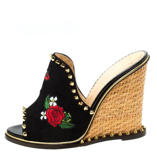 Charlotte Olympia Suede Floral Embroidered Open Toe Wedge Black Sandals Image 1