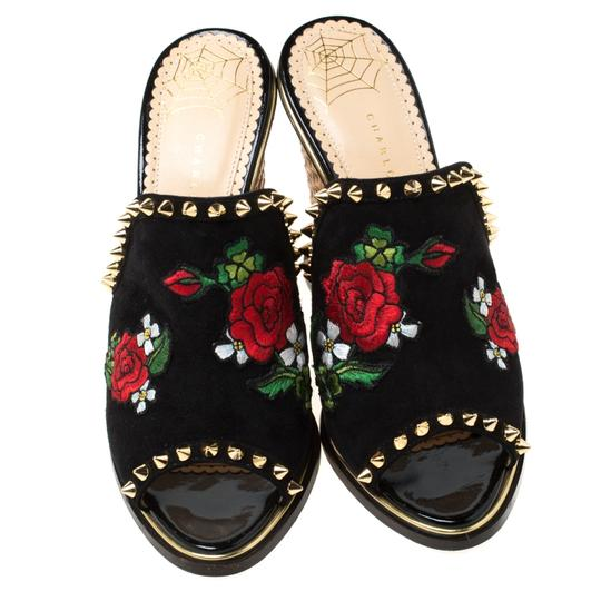 Charlotte Olympia Suede Floral Embroidered Open Toe Wedge Black Sandals Image 2