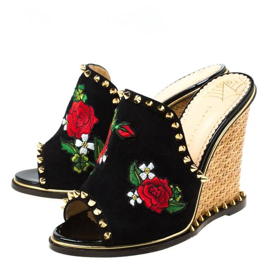 Charlotte Olympia Suede Floral Embroidered Open Toe Wedge Black Sandals Image 5