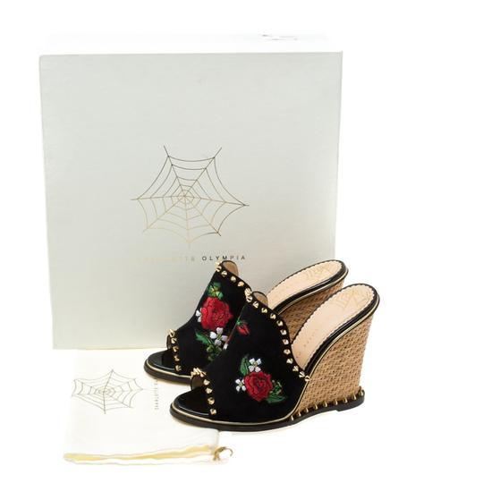 Charlotte Olympia Suede Floral Embroidered Open Toe Wedge Black Sandals Image 7