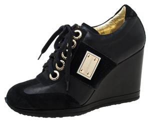 Dolce&Gabbana Leather Suede Lace Wedge Black Athletic