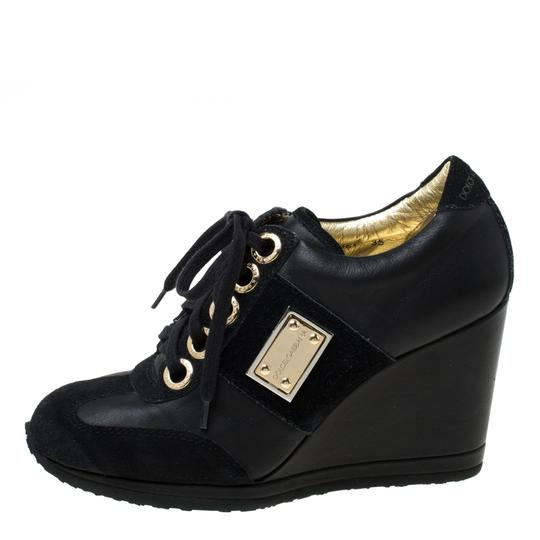 Dolce&Gabbana Leather Suede Lace Wedge Black Athletic Image 1