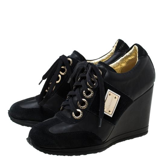 Dolce&Gabbana Leather Suede Lace Wedge Black Athletic Image 4