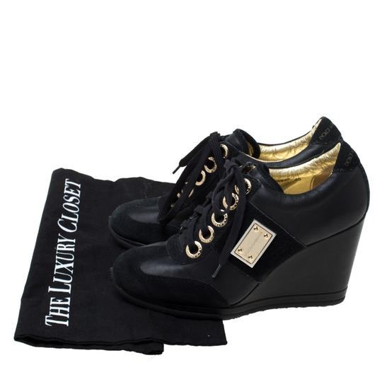 Dolce&Gabbana Leather Suede Lace Wedge Black Athletic Image 7