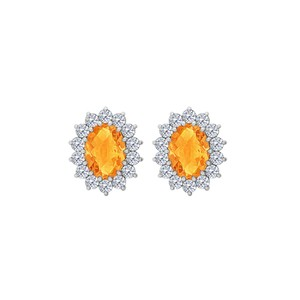 Marco B Fancy Oval Citrine and CZ Halo Stud Earrings in 14K White Gold