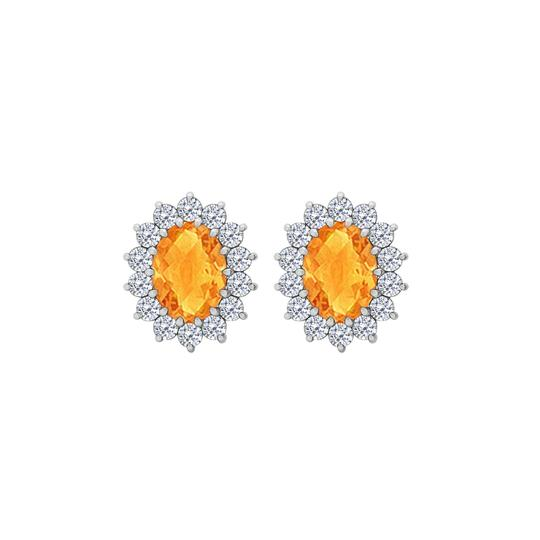 Preload https://img-static.tradesy.com/item/25958136/yellow-fancy-oval-citrine-and-cz-halo-stud-earrings-in-14k-white-gold-ring-0-0-540-540.jpg