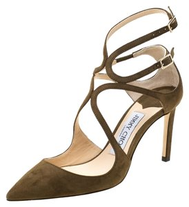 Jimmy Choo Suede Pointed Toe Green Sandals
