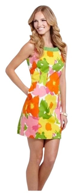 Item - Pink Yellow Green Orange and White. Garden Party with Bows Mid-length Short Casual Dress Size 6 (S)