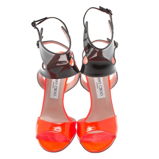 Jimmy Choo Patent Leather Ankle Open Toe Black Sandals Image 2