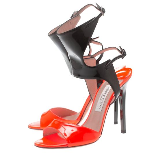 Jimmy Choo Patent Leather Ankle Open Toe Black Sandals Image 4