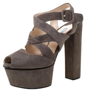 Prada Suede Platform Strappy Grey Sandals