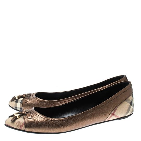 Burberry Bronze Leather Ballet Metallic Sandals Image 4